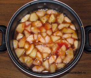 Морковь свекла лук яблоко и сельдерей заливаются водой и варятся