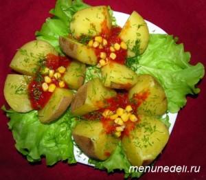 Цветы из картофеля в мундирах с томатным соком