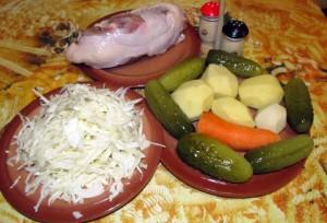 Продукты для огуречного супа с капустой картофелем и морковью
