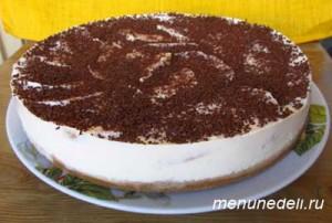 Готовый творожный торт без выпечки с апельсинами