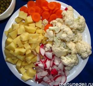Мелко порезанные картофель морковь редис и разделенная на соцветия цветная капуста