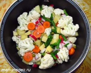 В кастрюлю добавлены морковь стручковая фасоль цветная капуста редиска картошка