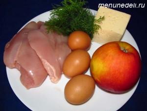 Ингредиенты для универсального салата с сыром курицей яблоком и яйцами