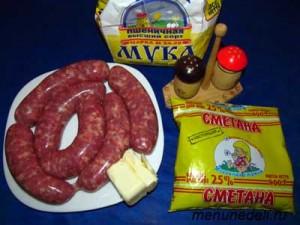 Продукты для мачанки с блинами и колбасками
