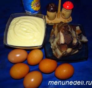 Продукты для фаршированный грибами яиц