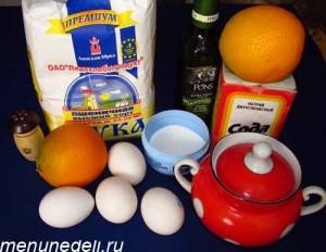 Продукты для апельсинового пирога с оливковым маслом