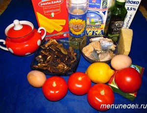 Продукты для каннелони с разноцветным соусом