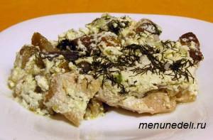 Как приготовить курицу с грибами и сыром в горшочке