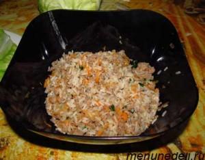 Отваренный рис обжаренный фарш и тертая морковь смешаны в одной миске