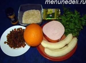 Продукты для риса с бананами и вечиной