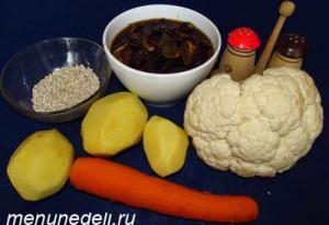 Продукты для грибного супа из сушеных грибов цветной капусты и перловки