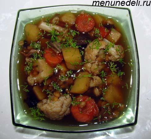 Грибной суп из сушеных грибов картофеля перловки и цветной капусты