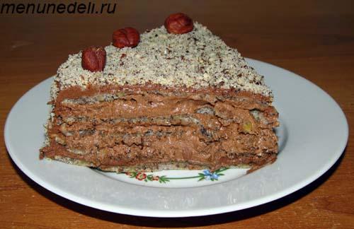 Торт Добош  в разрезе один кусочек