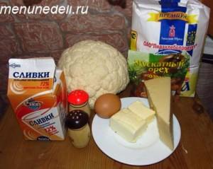 Продукты для супа-пюре из цветной капусты сыра и сливок