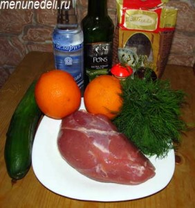 Ингредиенты для свинины в апельсиновой глазури