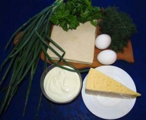 Продукты для ленивых пирожков из свежей зелени