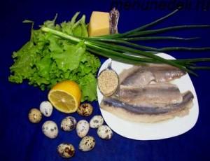 Продукты для салата из сельди зеленого лука листового салата и перепелиных яиц
