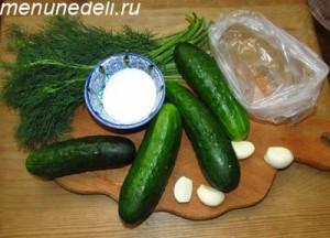 Ингредиенты для рецепта малосольных огурцов быстрого приготовления