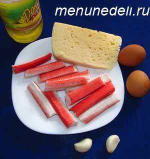Ингредиенты для биточков из крабовых палочек с сыром