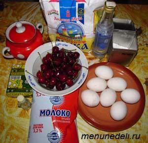 Продукты для пирога с черешней и заварным кремом