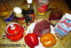 Ингредиенты для сладкого мяса по-китайски