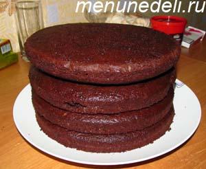 4 коржа для приготовления торта Бочка с икрой