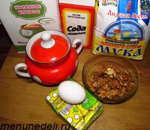 Ингредиенты для печенья из овсяных хлопьев