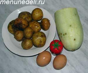 Ингредиенты для приготовления оладьев из кабачков и картофеля