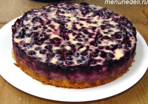 Пирог с черникой - рецепт с фото