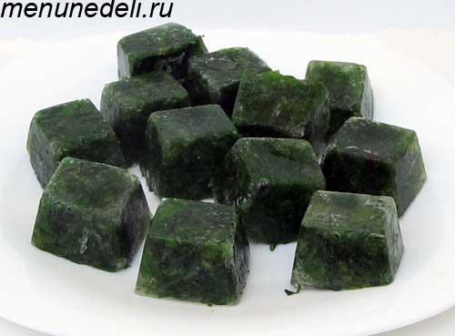 Замороженная кубиками зелень на зиму в домашних условиях