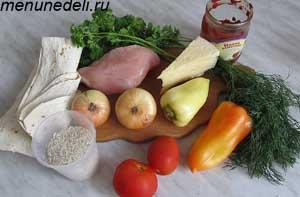 Ингредиенты для буррито с курицей рисом и овощами