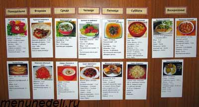 Следующий вариант меню на неделю размещенный на домашнем холодильнике