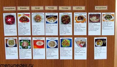 Второй пример последовательности приготовления блюд в виде магнитных карточек
