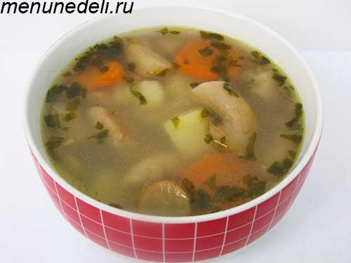 Грибной суп из вешенок картофеля и моркови на обед