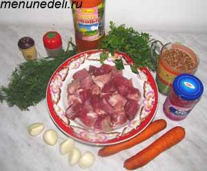 Продукты для густого гречневого супа с мясом