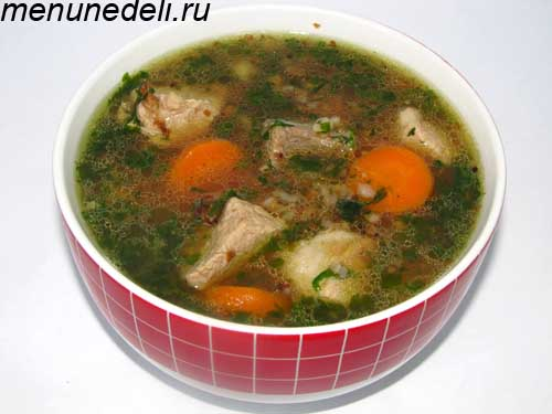 Густой гречневый суп с мясом морковью и зеленью