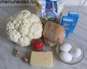 Ингредиенты для приготовления котлет из цветной капусты