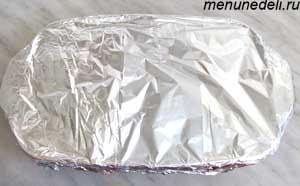 Фольга покрывающая форму для запекания