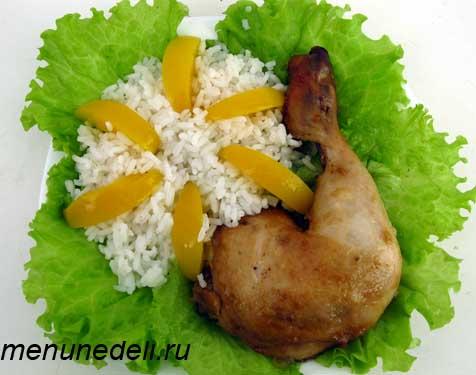 Курица с имбирем и абрикосами и рисом на гарнир