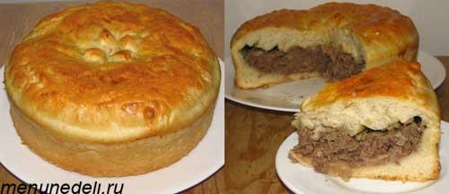 Пирог с мясом, картофелем и луком