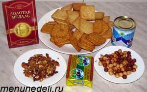 Ингредиенты для шоколданой колбасы из печенья