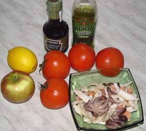 Ингредиенты для помидоров фаршированных морепродуктами