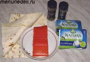 Ингредиенты для рулетов из лаваша и рыбы