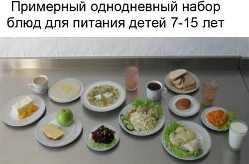 Полное меню на день детей от семи до пятнадцати лет