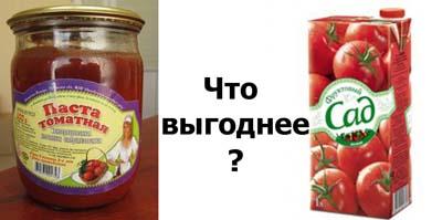 Противопоставление сока заводского производства и концентрированной томатной пасты в стеклянной банке