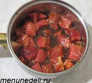 Мясо нарезанное крупными кубиками