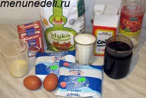 Ингредиенты для шоколадного торта с вареньем