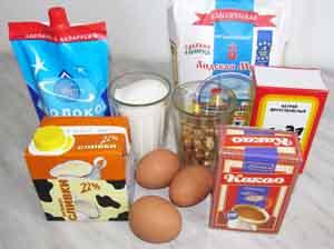 Ингредиенты для шоколадного торта с грецкими орехами