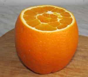 Апельсин без верхушки и донышка
