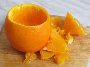 Кожура апельсина без мякоти для наполнения салатом